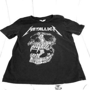 Kids H&M 6-8 Y Black Metallica rock band t-shirt
